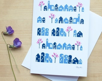 Greeting Card with Little Blue Houses and Pink Trees (Blank)