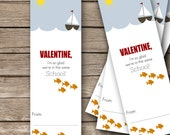 "Printable Valentine's Bookmarks - 2""x6""- School of Fish"