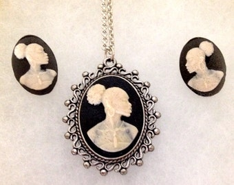 African American profile cameo necklace and earrings set