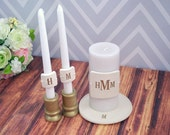 PERSONALIZED Unity Candle Wedding Ceremony Set with Candle Holders and Plate - in Gold - Gift Boxed