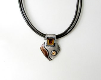 Tribal Leather + Metal Pendant Necklace. Vintage Bohemian Necklace with Topaz Jewels and Double Stranded Leather Cord. Indie Fashion Jewelry