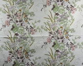 Floral Fabric Natural Flower Cream Fabric Remnant Fabric Scrap