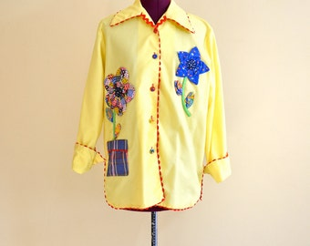 1970s Vintage Plus Size Just Joey Yellow Floral Quilted Applique Top Jacket size Large (XL) bust 44
