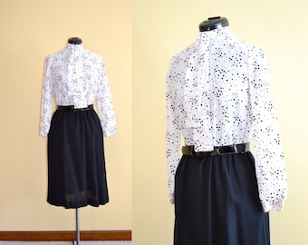 1960s Vintage Black and White Polka Dot Day Dress - size M bust 35