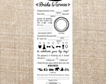 Wedding Mad Libs Printable- Custom Colors- Bride and Groom Note, DIY