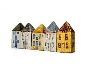 Home Decor,Architecture, Ceramic Sculpture  Buildings, Row Houses,Townhouses,Townscape