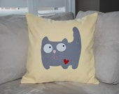 """18""""x18""""  'Happy Grey Kitty'  Pillow COVER"""