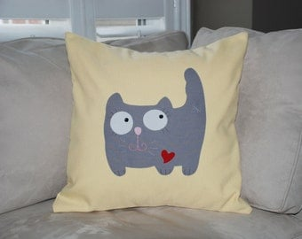 "CUSTOM ORDER for KA 18""x18""  'Happy Grey Kitty'  Pillow Cover"
