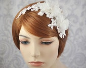 Bridal Lace Headpiece with Swarovski Crystals and Silk Flowers//Lace Headband with Flowers and Crystals//Wedding Hair Accessories