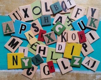 2 Dozen Assorted Vintage and Antique Anagram Letter Tiles
