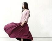 Purple Linen Skirt, Boho Maxi Long Skirt in autumn. Embroidery Skirt. Handmade Special Skirt