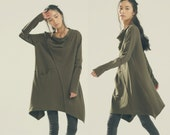 Brown kaftans Asymmetric Hoodie / Quilted Cotton Warm Top