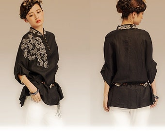 Black Oversized Top / Embroidery White Tunic Top / Linen clothing / Loose fitting A8029