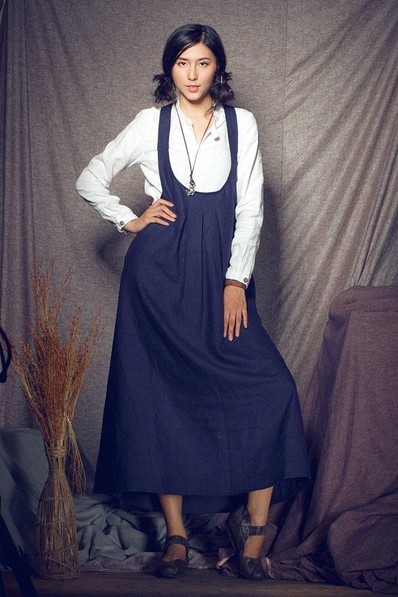 I size S/M/L on sale. Linen Halter Dress in Navy / Long Halter Sundress - custom made