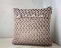 Hand knitted cushion beige waffle pattern pillow cover with wool size 16x16 inch for cozy home decor  0194
