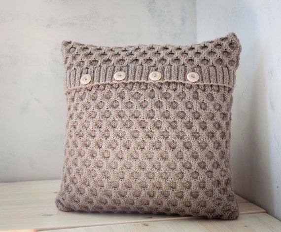 Hand knitted cushion beige waffle pattern pillow cover with