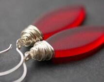 Red Seaglass Earrings. Seaglass Dangle Earrings. Marquis Style Frosted Earrings. Wire Wrapped Earrings. Handmade Jewelry.