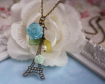 Paris Eiffel Tower rose charm necklace jewellery accessory vintage bronze cute love flower