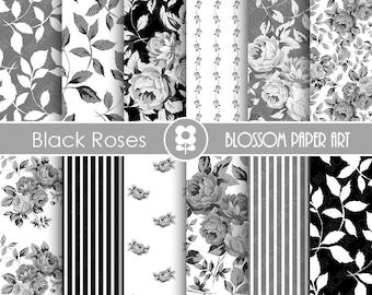 Black Digital Paper, Rose Digital Paper Pack, Black Roses, Wedding, Scrapbooking, Roses, VIntage Roses - INSTANT DOWNLOAD  - 1793