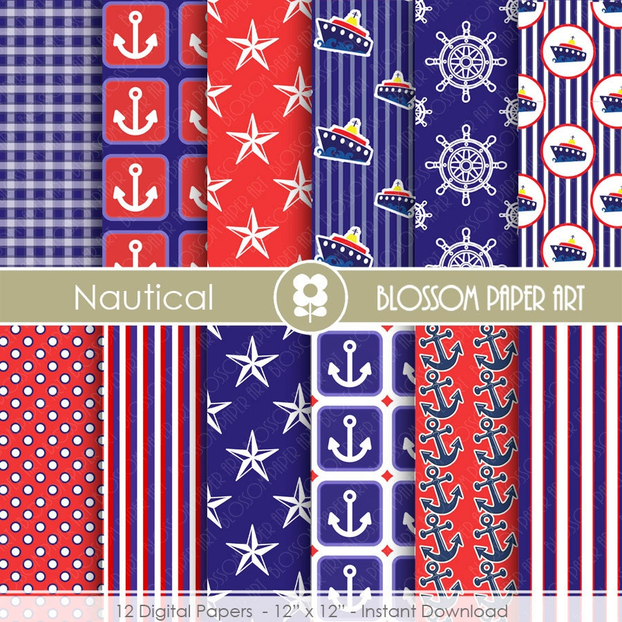 Papeles digitales azul rojo papeles decorativos n uticos - Papeles decorativos para imprimir ...