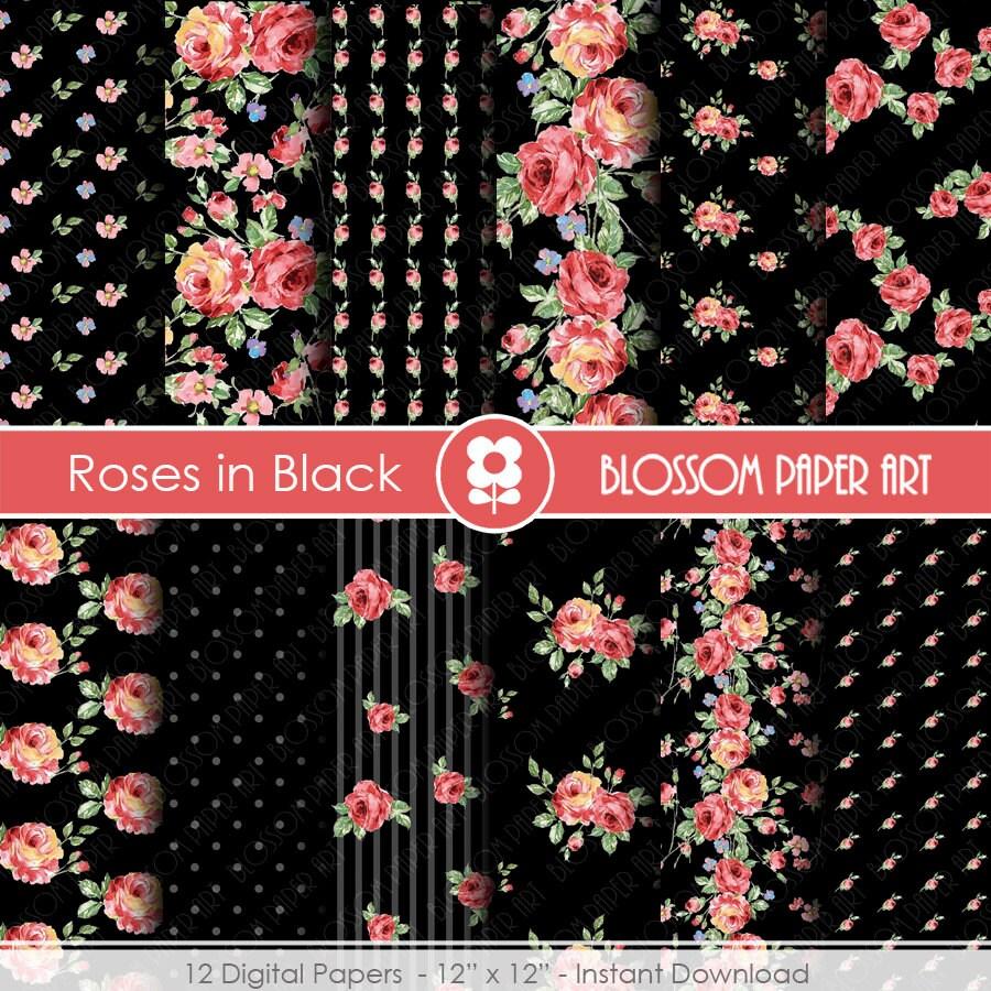 Black digital papers rose scrapbook paper pack digital - Papel de pared decorativo ...