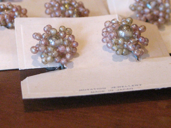 1950s Pink and Clear Beaded Clip-On Earrings - Deadstock