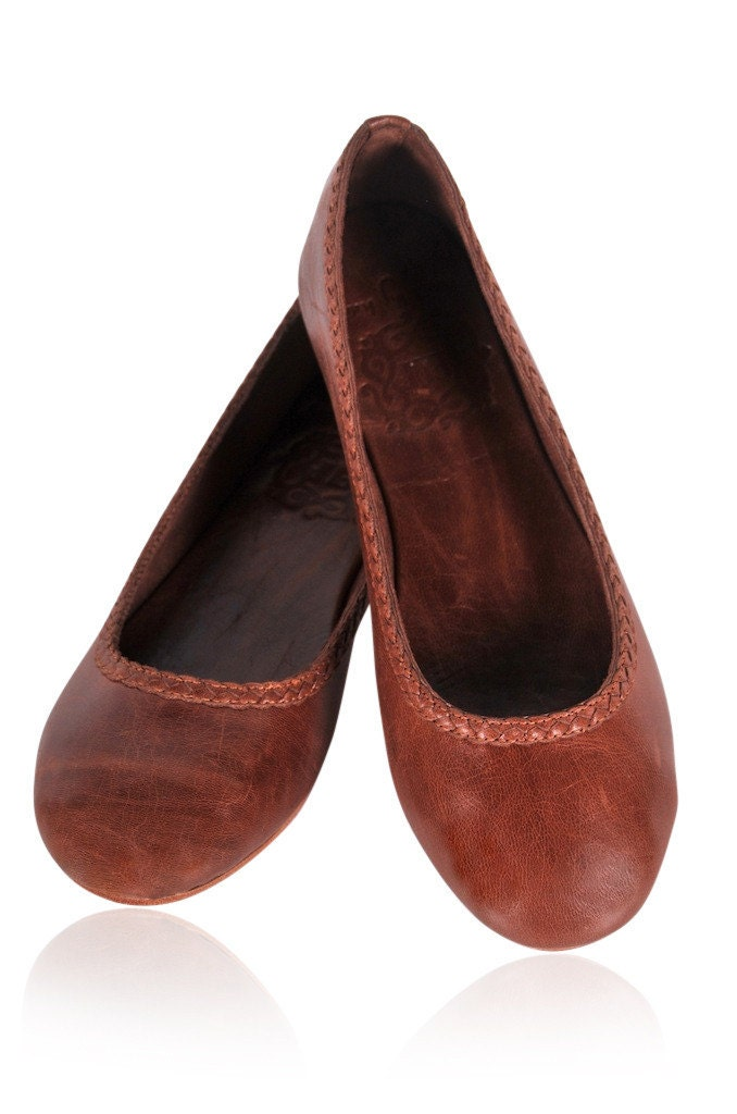 ais 201 leather flat shoes leather ballet flats brown