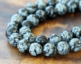 Snowflake Obsidian Beads, 10mm Smooth Round - 15 inch strand - eGR-OB001-10
