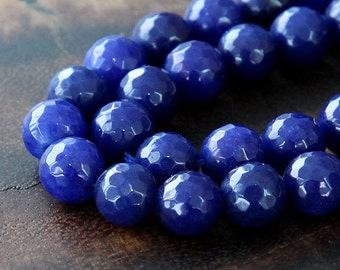Faceted Jade Beads, Royal Blue, 10mm Round - 15 inch strand - eJFR-B22-10