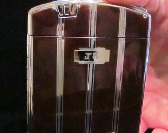 """1940s Ronson """"Twenty Case"""" Cigarette Case Cigarette Lighter Case Lighter Art Deco w/ Pouch and Box Very Good to Excellent Working Condition"""