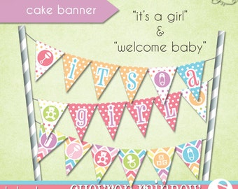 Chevron Rainbow Cake Banner • PRINTABLE Baby Shower • by The Occasional Day