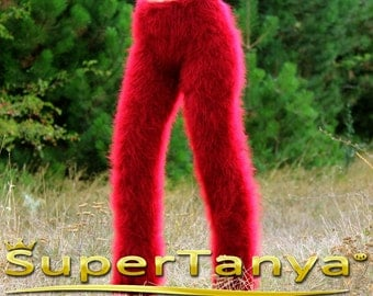 Made to order hand knit fuzzy mohair pants, fluffy trousers in red by SuperTanya
