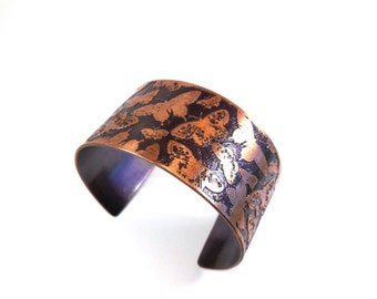 Butterfly Jewelry, Fluttering Butterflies, Cuff Bracelet, Butterfly Pattern Cuff, Wide Cuff Bracelet, Etched Copper Cuff, Handmade Gift