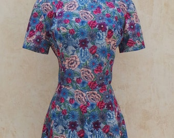 Vintage 60s - Dress - Psychedelic Floral Tiger Print  -  Bright Blue / Pink - Womens Size Medium - 1960s