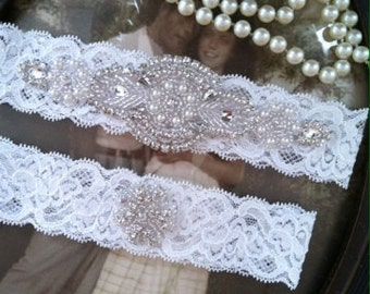 SALE-Wedding Garter - Off White Lace Garter Set -Bridal White-Off-White-Rhinestone Garter - Applique Garter - Vintage - Bridal Garter