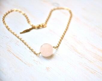 14K Gold Filled Rose Quartz Necklace - Mothers Day Necklace