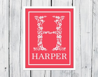 Floral Monogram - Nursery Decor - Young Girl's Room Decor - Name Print - Baby Shower Gift