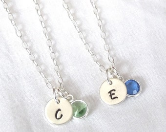 Set of 2 Personalized Birthstone Necklaces -- Sterling Silver, Bride/Bridesmaids Gifts, Wedding Jewelry -- MADE TO ORDER