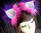MADE TO ORDER Furry clip in Cheshire Cat inspired cat ears animal ears cheshire cat costume cosplay