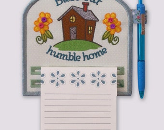 Bless Our Home Magnetic Applique Embroidered Notepad Holder
