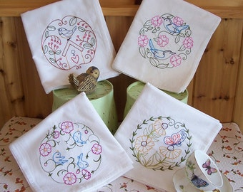 Embroidered Set of Kitchen Designs in Beautiful Birds and Butterfly