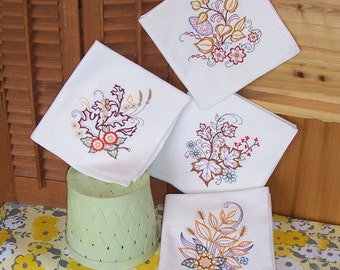 Embroidered Set of Kitchen Towel Designs in Fall Leaves