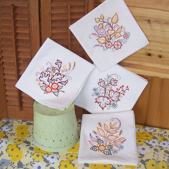 Items Similar To Embroidered Set Of Kitchen Towel Designs In Fall Leaves On Etsy