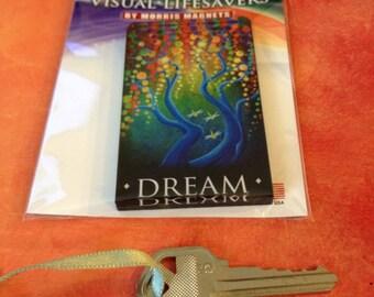 Dream Acrylic Art Magnet, trees, fireflies, blue, circle art
