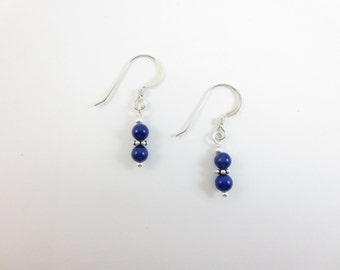 Lapis Lazuli 4 mm Stacked Dangle Earrings With Sterling Silver