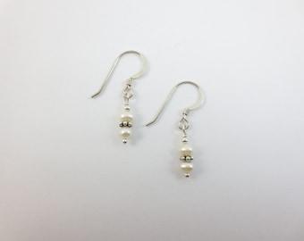 Dainty Stacked 4 mm White Fresh Water Pearl Earrings - Sterling Silver or 14k Gold Fill - 4 mm Pearls - Pearl Earrings - Dangle Earrings
