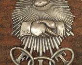 vintage odd fellows metal insignia sign with eyeball & handshake, F.L.T. friendship love truth, IOOF