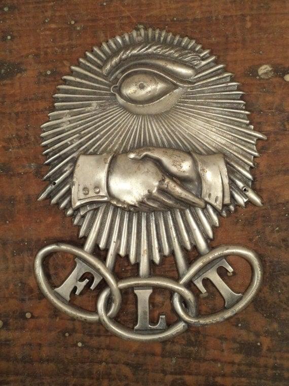 Vintage Odd Fellows Metal Insignia Sign With Eyeball