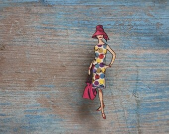 Fabulous Fashion Brooch, Beach, Summer, Fun Wooden Brooch