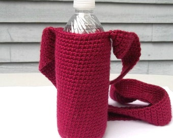 Red Water Bottle Holder, Beverage Tote, Water Carrier